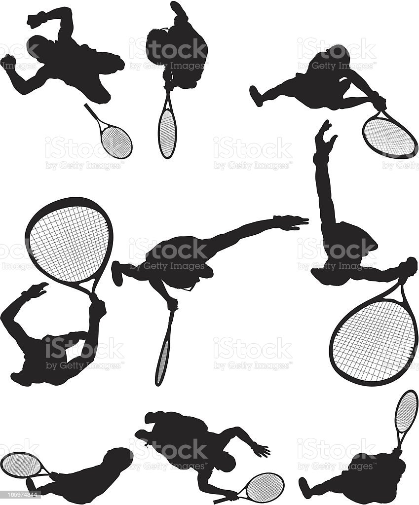 Multiple images of a tennis player royalty-free stock vector art