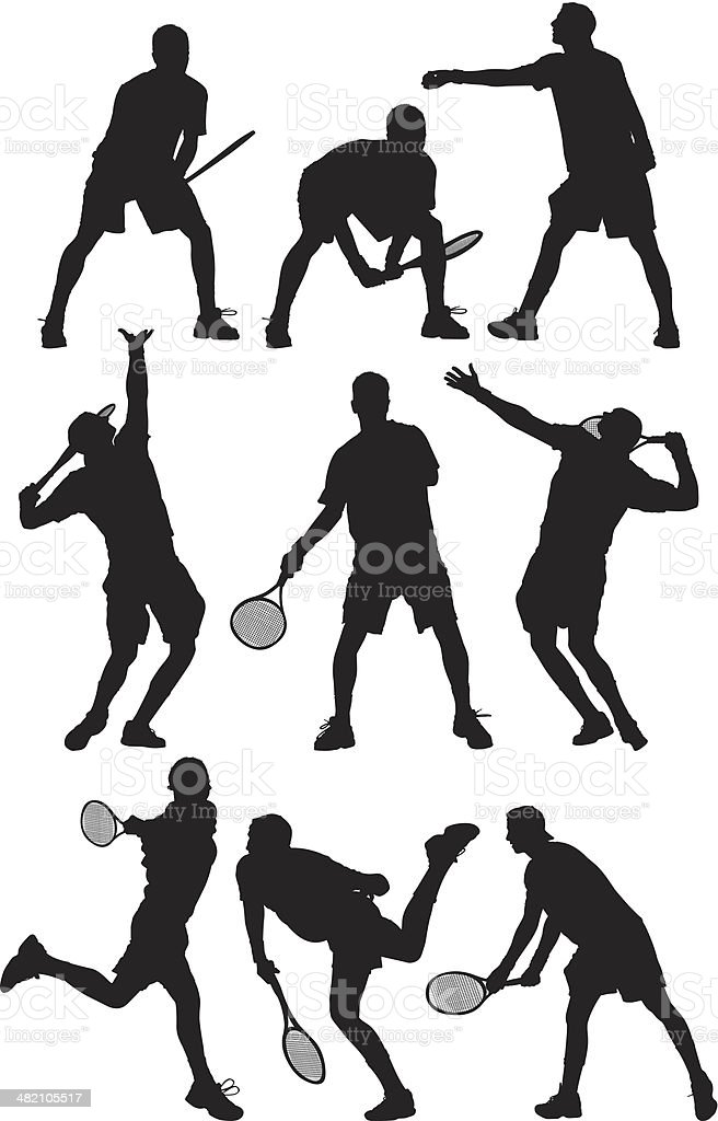 Multiple images of a tennis player vector art illustration