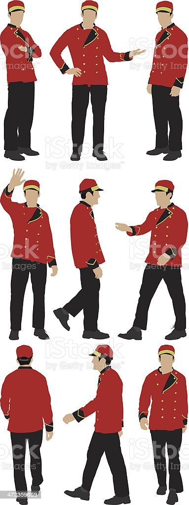 Multiple images of a valet in different poses vector art illustration