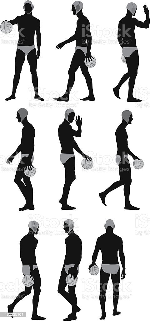 Multiple images of a water polo player vector art illustration