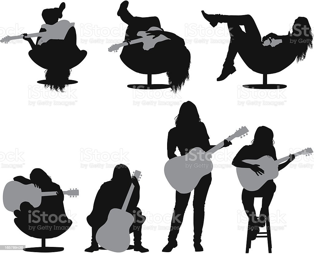 Multiple images of a woman playing guitar royalty-free stock vector art