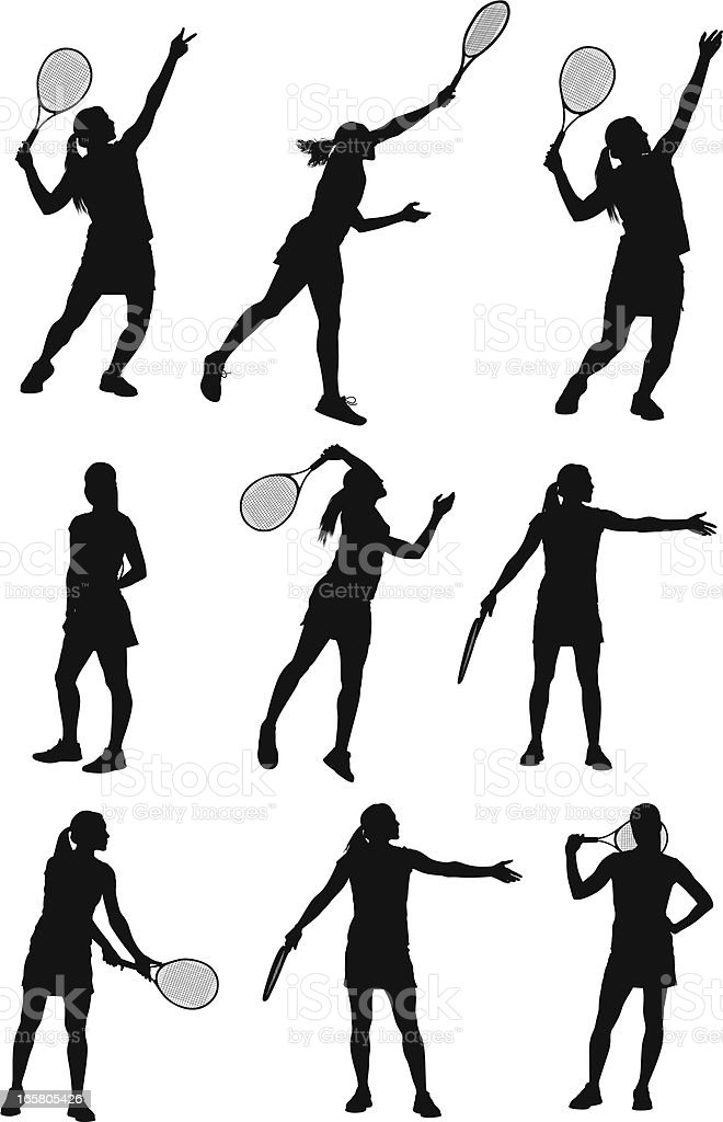 Multiple images of a woman playing tennis vector art illustration