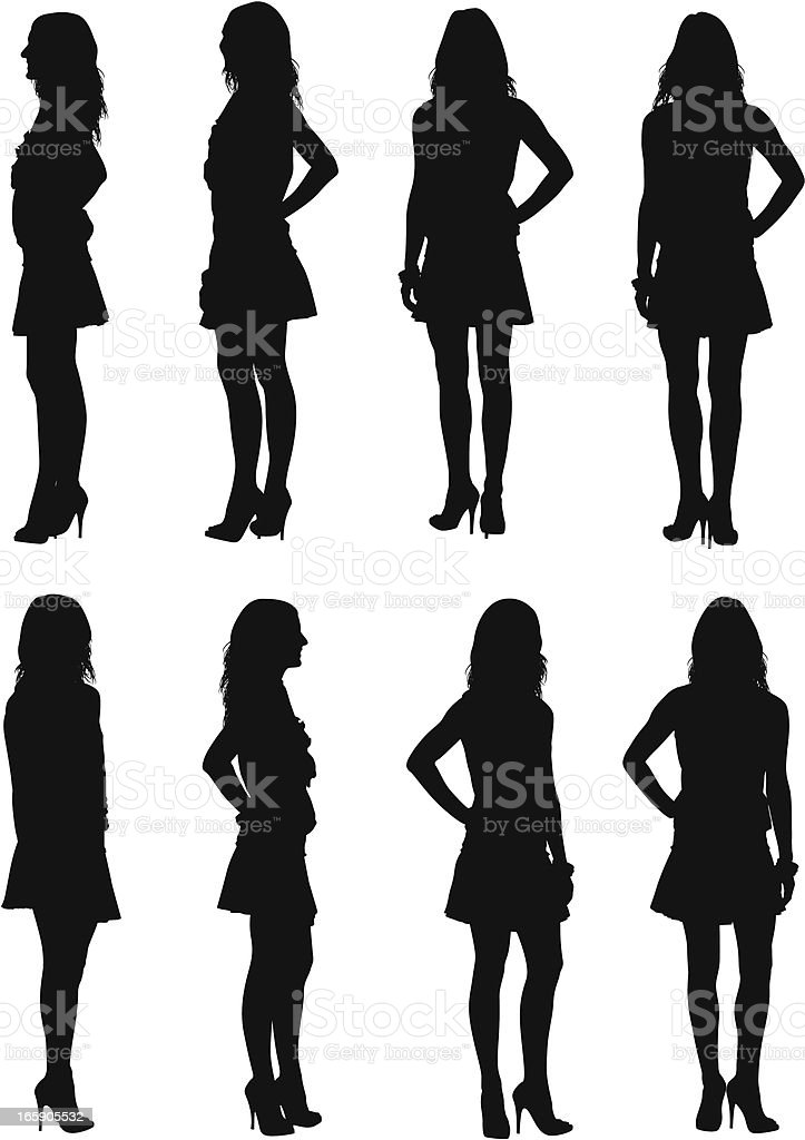 Multiple images of a woman posing vector art illustration