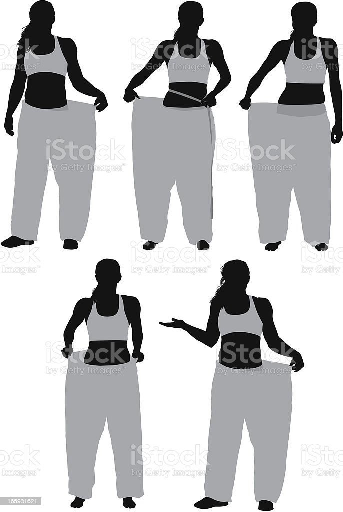 Multiple images of a woman showing her loosing weight royalty-free stock vector art