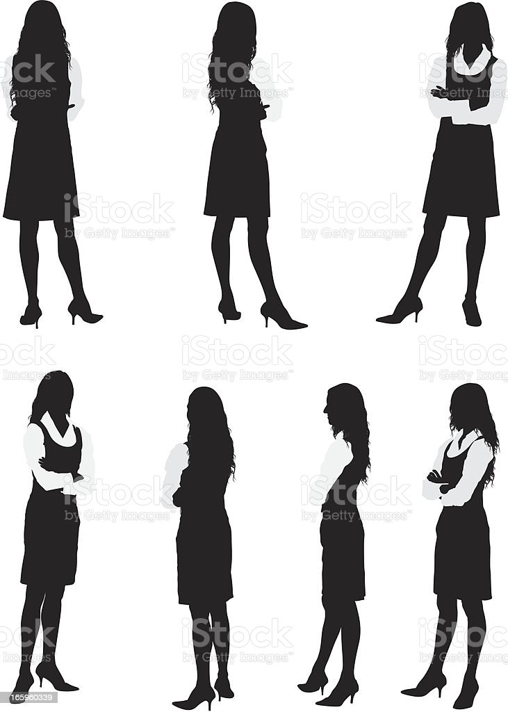 Multiple images of a woman standing vector art illustration