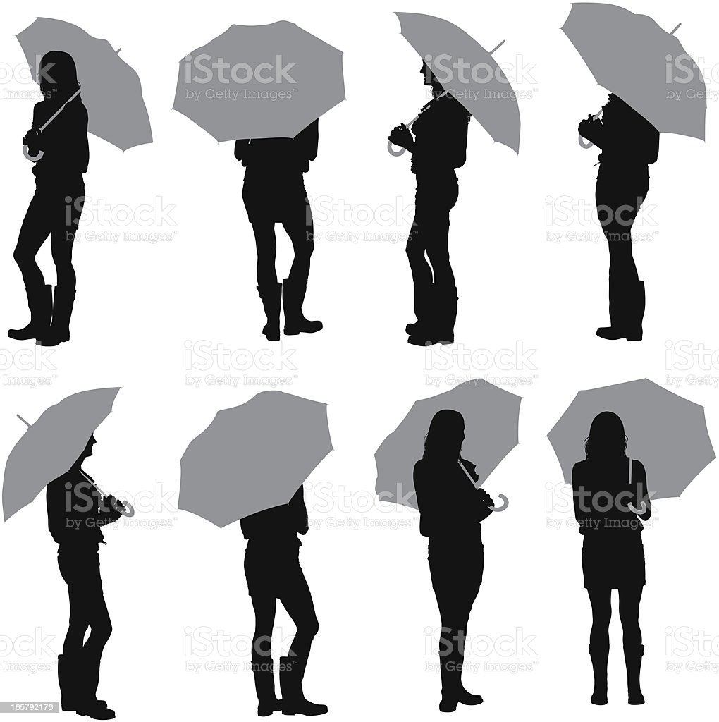 Multiple images of a woman with an umbrella royalty-free stock vector art