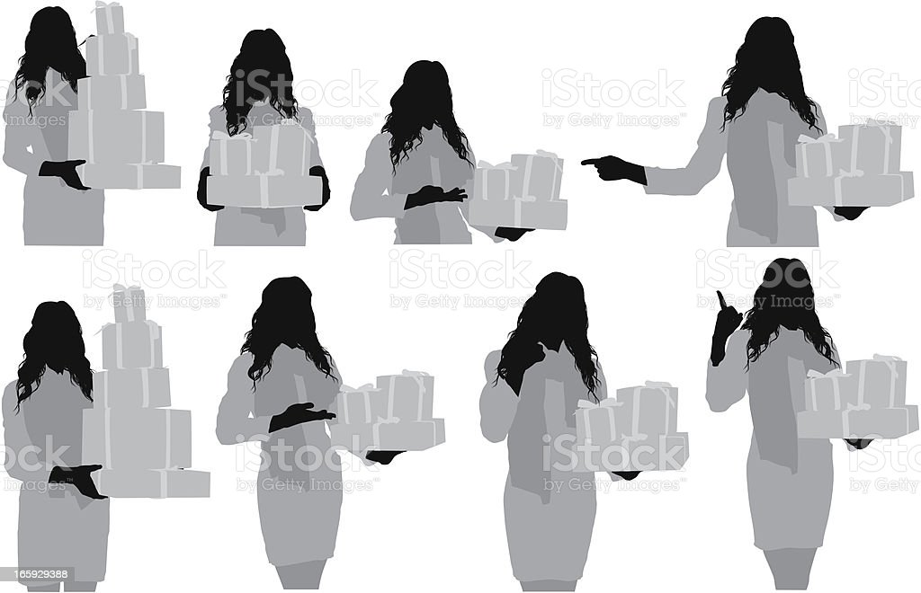 Multiple images of a woman with gift boxes royalty-free stock vector art