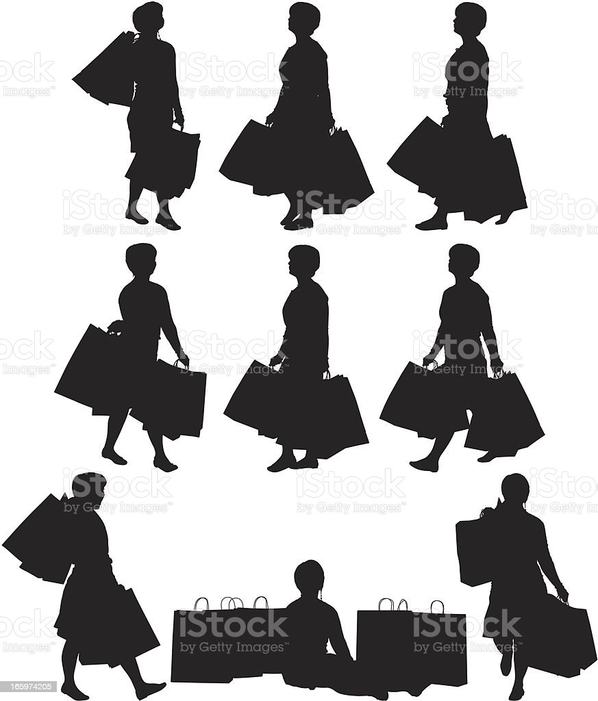 Multiple images of a woman with shopping bags royalty-free stock vector art