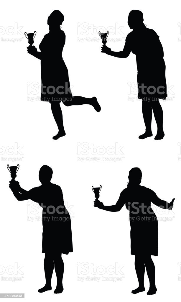 Multiple images of a woman with trophy royalty-free stock vector art