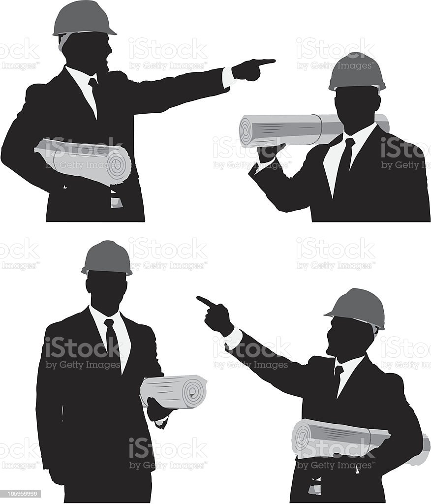 Multiple images of an architect with blueprint royalty-free stock vector art