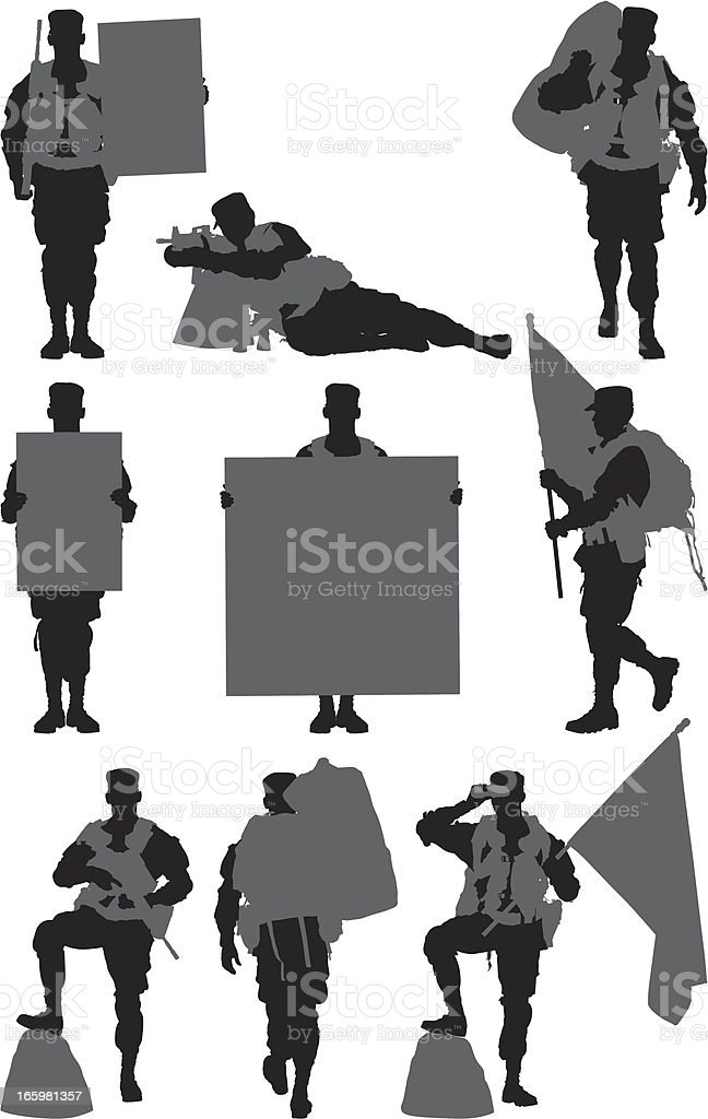 Multiple images of an army soldier royalty-free stock vector art