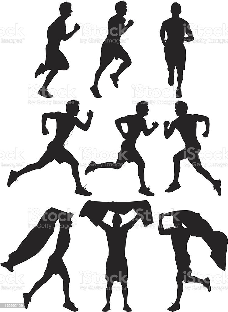 Multiple images of an athlete running royalty-free stock vector art