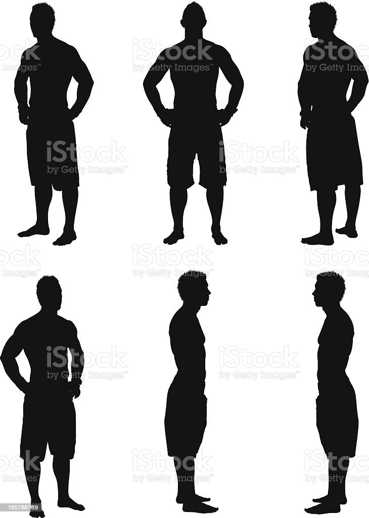 Multiple images of athletes royalty-free stock vector art