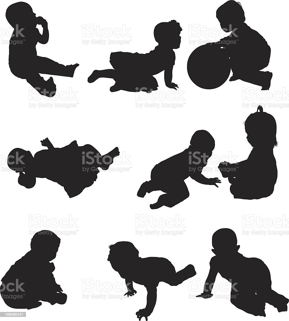 Multiple images of babies playing vector art illustration
