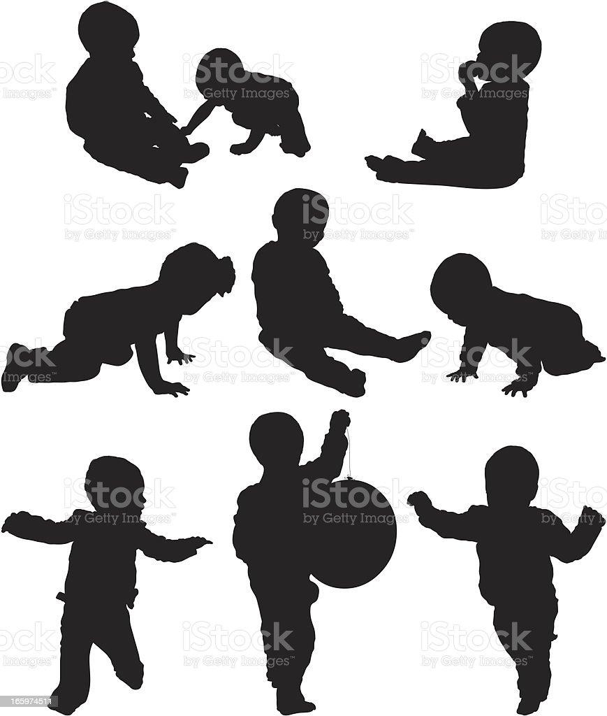 Multiple images of babies vector art illustration