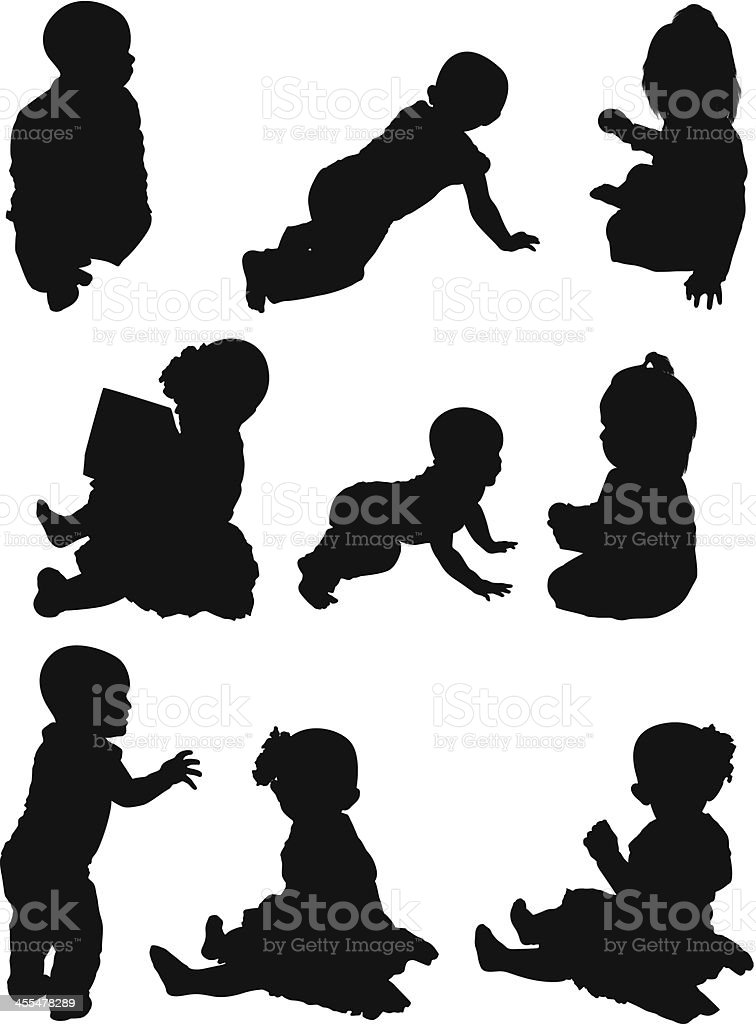 Multiple images of babies royalty-free stock vector art