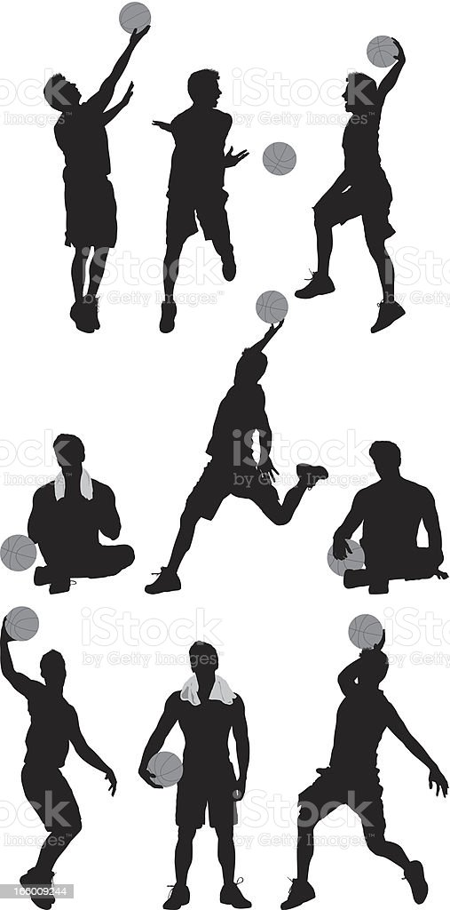 Multiple images of basketball players vector art illustration