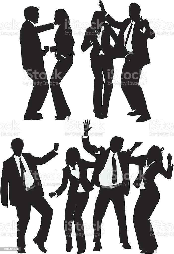 Multiple images of business executives dancing vector art illustration