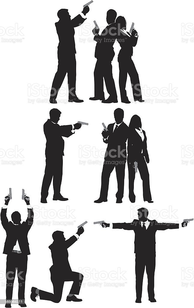 Multiple images of business people with guns royalty-free stock vector art