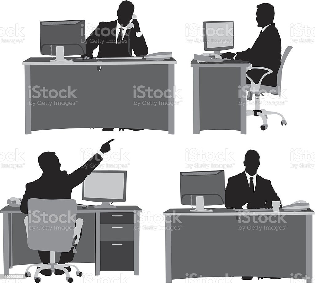 Multiple images of businessman at his desk vector art illustration