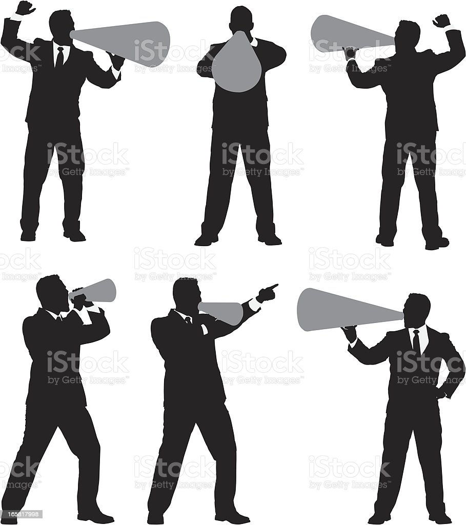 Multiple images of businessman shouting into bullhorn royalty-free stock vector art