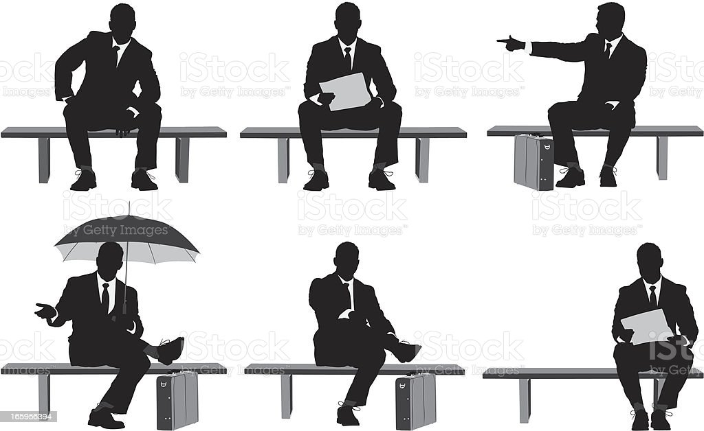 Multiple images of businessman sitting on a bench vector art illustration