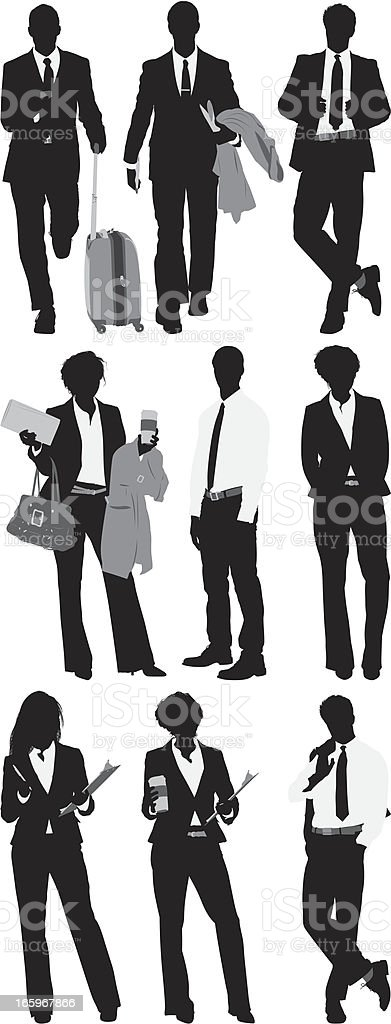 Multiple images of businessmen and women royalty-free stock vector art