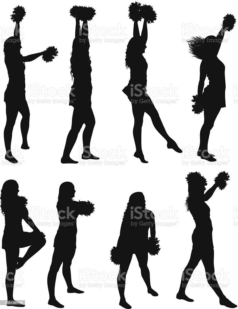 Multiple images of cheerleaders dancing royalty-free stock vector art