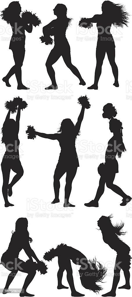Multiple images of cheerleaders royalty-free stock vector art