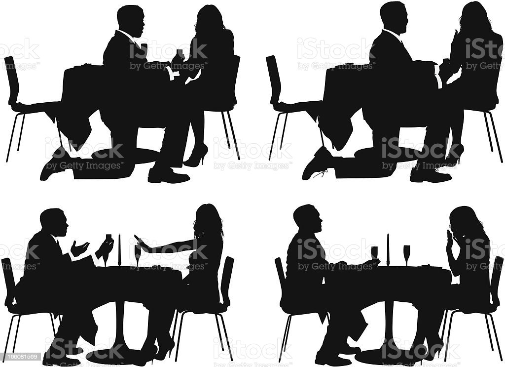 Multiple images of couple in a restaurant royalty-free stock vector art