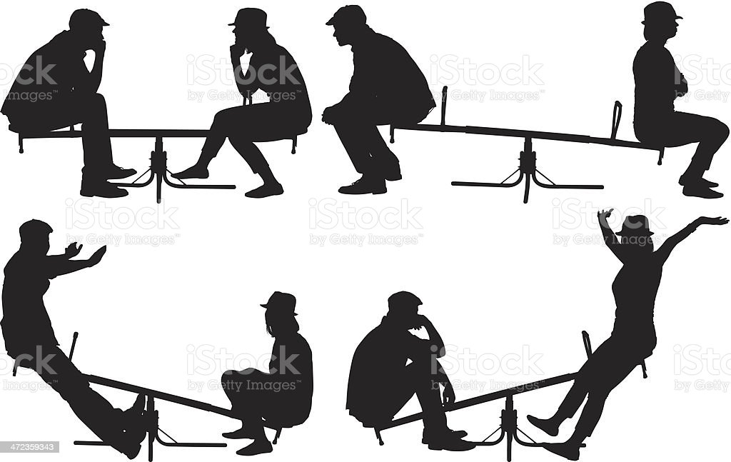 Multiple images of couple playing on a seesaw royalty-free stock vector art