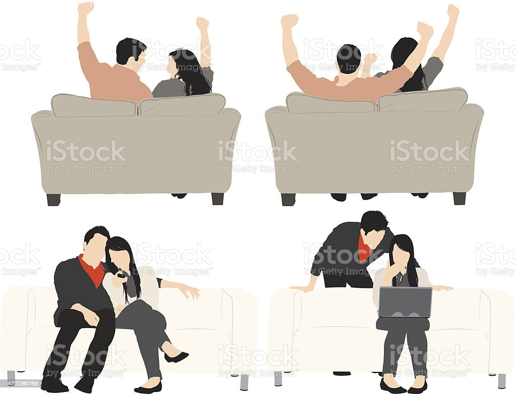Multiple images of couple vector art illustration