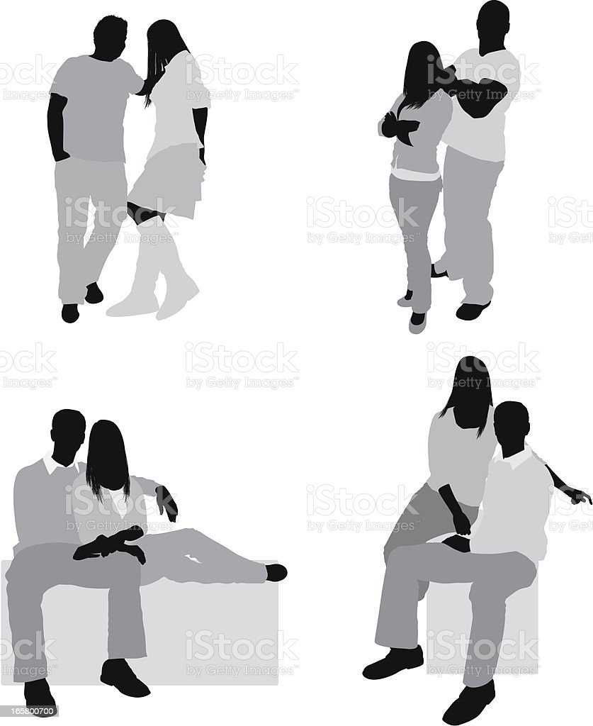Multiple images of couples royalty-free stock vector art