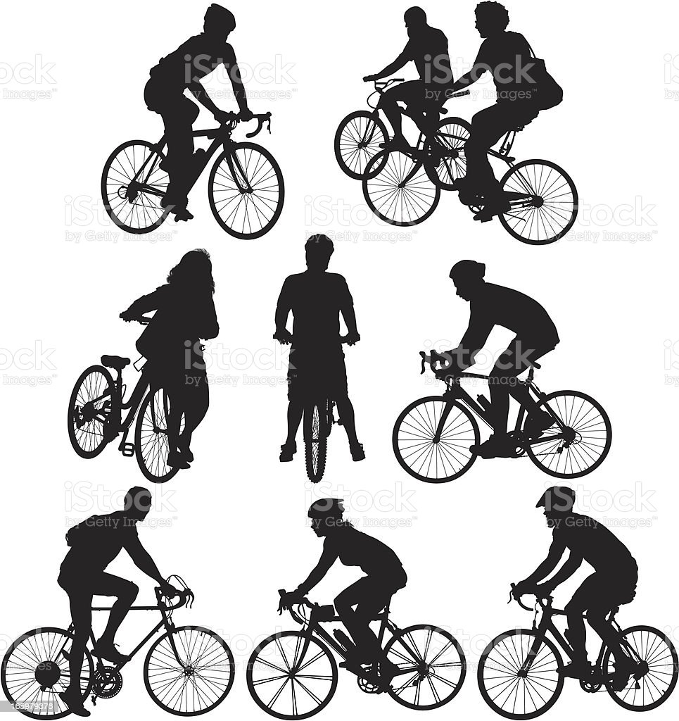 Multiple images of cyclists vector art illustration