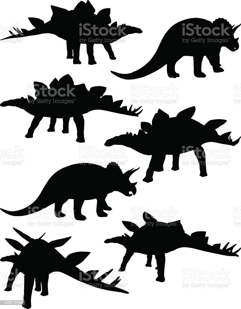 Multiple images of dinosaurs vector art illustration