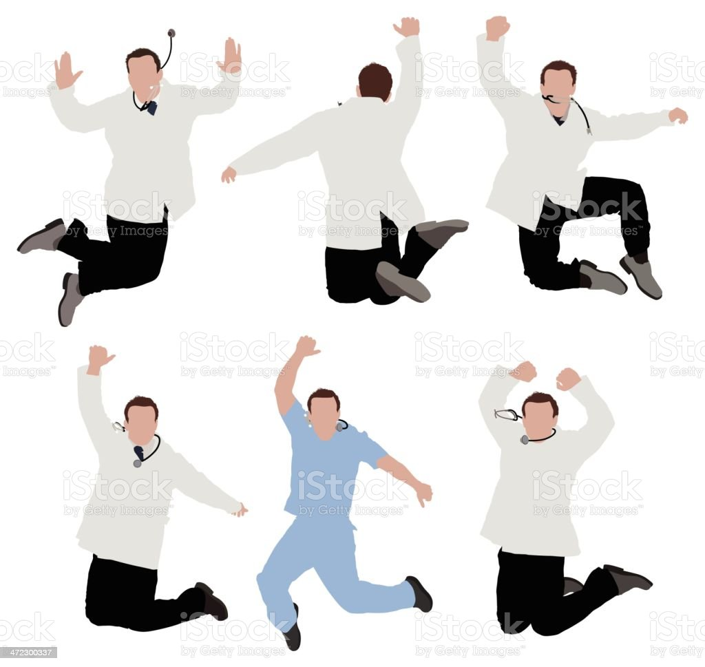 Multiple images of doctors jumping royalty-free stock vector art