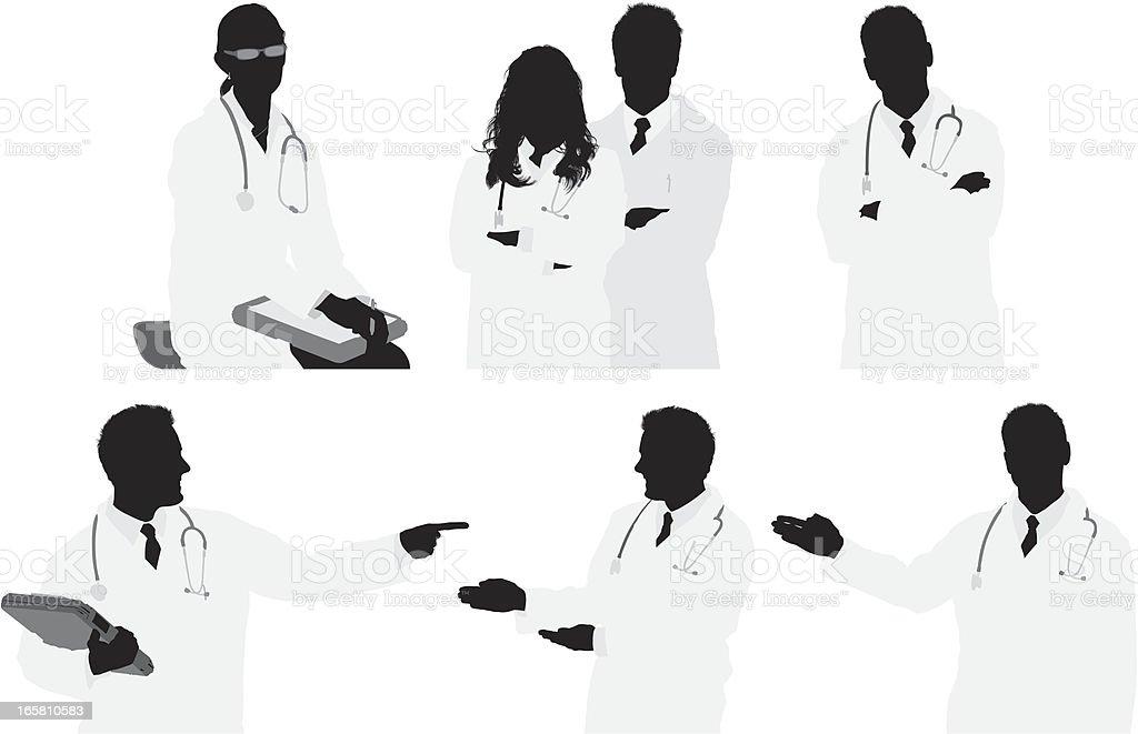 Multiple images of doctors vector art illustration