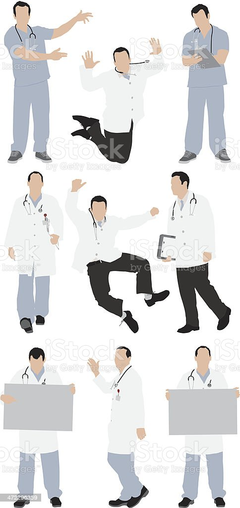 Multiple images of doctors vector art illustration