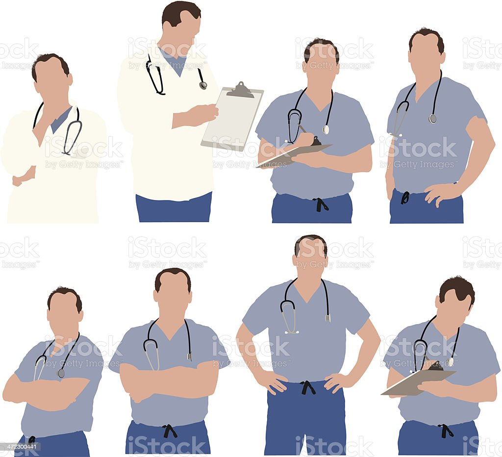 Multiple images of doctors royalty-free stock vector art