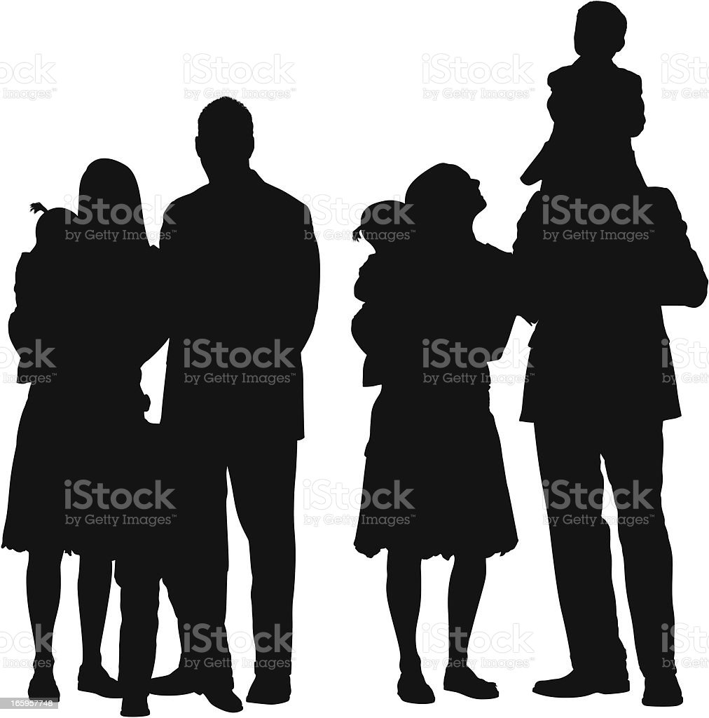 Multiple images of families vector art illustration