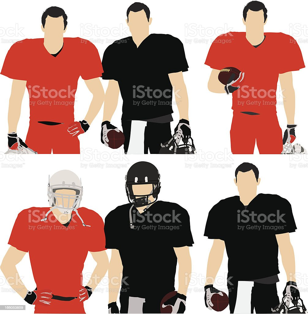 Multiple images of football players vector art illustration