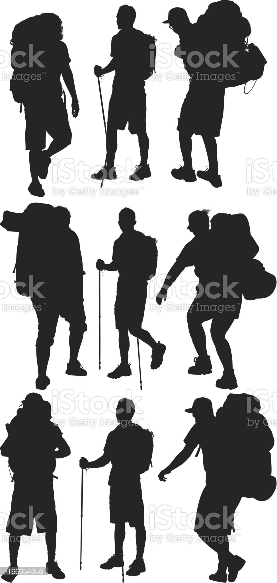 Multiple images of hikers royalty-free stock vector art
