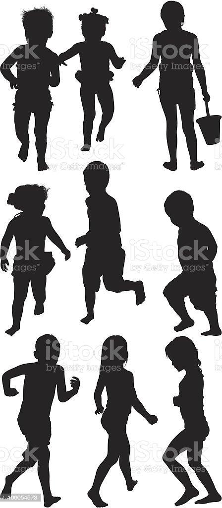 Multiple images of kids vector art illustration