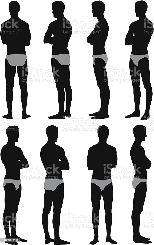 Multiple images of male swimmer royalty-free stock vector art