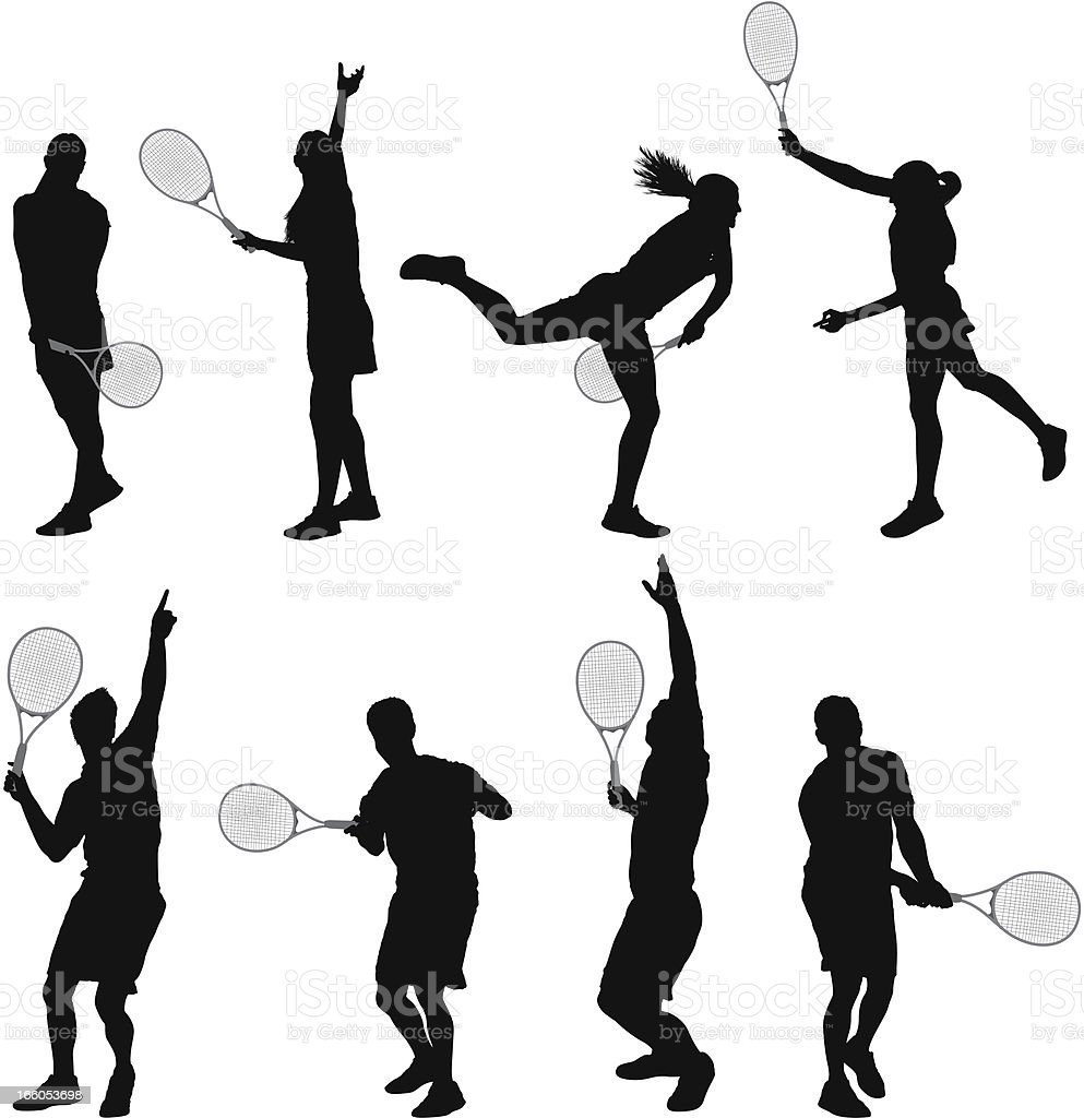 Multiple images of man and woman playing tennis royalty-free stock vector art