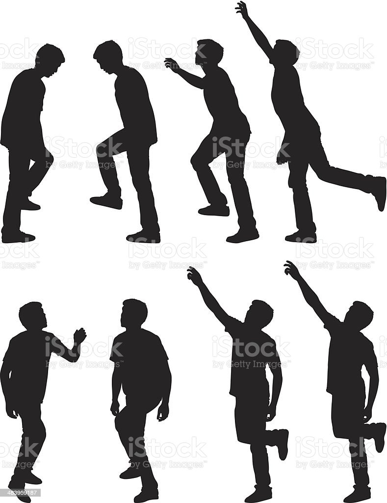 Multiple images of man stepping up and reaching high vector art illustration