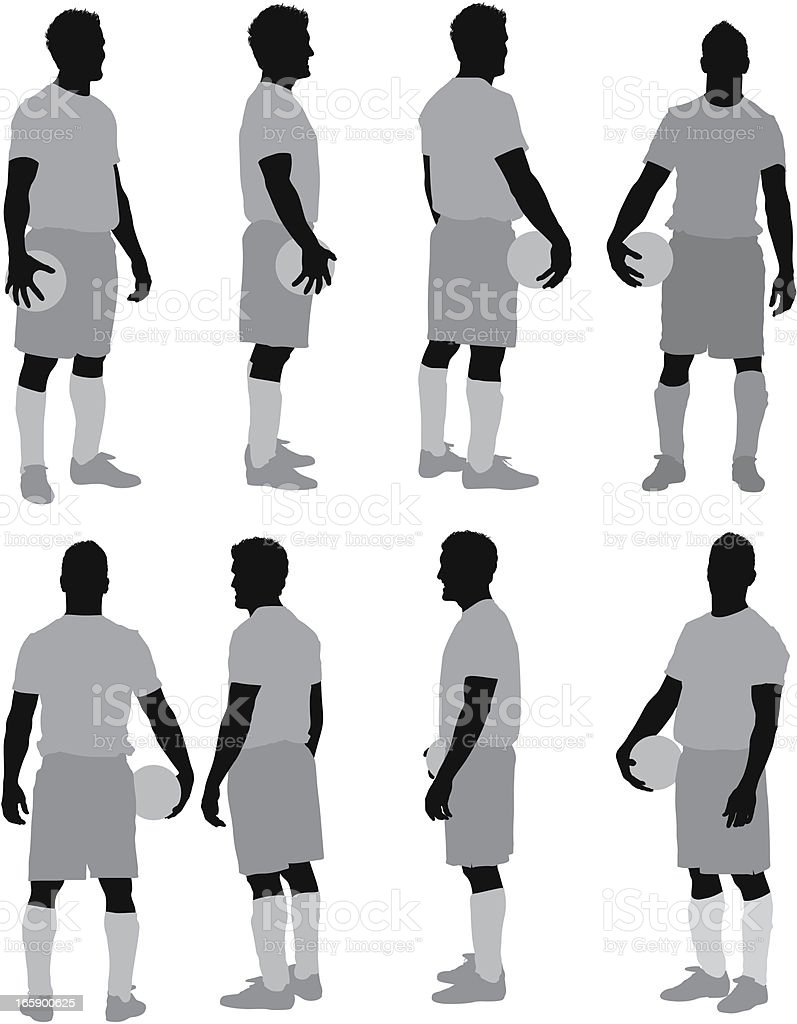 Multiple images of man with a ball vector art illustration