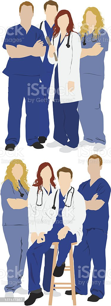 Multiple images of medical professionals vector art illustration