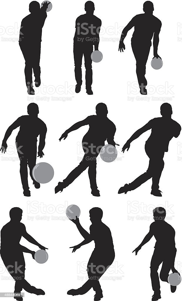 Multiple images of men bowling royalty-free stock vector art