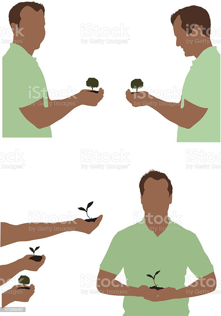 Multiple images of men holding seedling royalty-free stock vector art